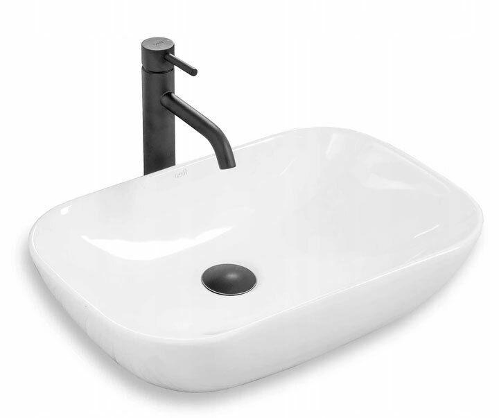 Lavabo In Ceramica - CLAUDIA 9447 SLIM Bianco REA Lavandino Da Appoggio
