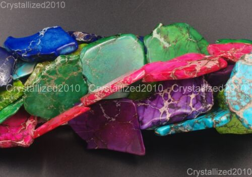 Natural Sea Sediment Jasper Gemstone 25~40mm Freeformed Nugget Sliced Beads 16/'/'