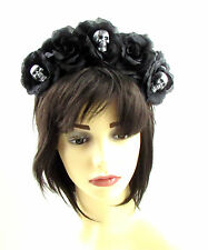 Large Black Silver Sugar Skull Flower Hair Crown Headband Rose Halloween Big 602