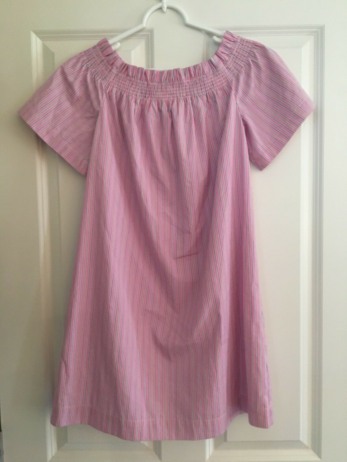 Vineyard Vines Nwt Sz S Pink & bluee Striped Off The Shoulder Dress Msrp 128.00