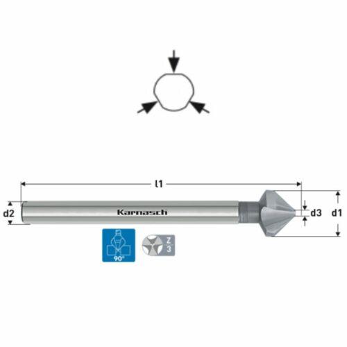 DIN335 langer Schaft Senker Karnasch Kegelsenker 90° Ø6,3-25mm CBN HSS-XE