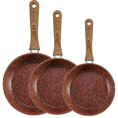 Non Stick Copper Effect Frying Pans Assorted Size Metal Handle 3 Assorted Size