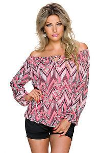 Damen Carmen Bluse Tunika Shirt Top Blumen Muster Business Büro Party S 34 36 38