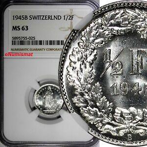 Switzerland-Silver-1945-B-1-2-Franc-NGC-MS63-Helvetia-KM-23-025