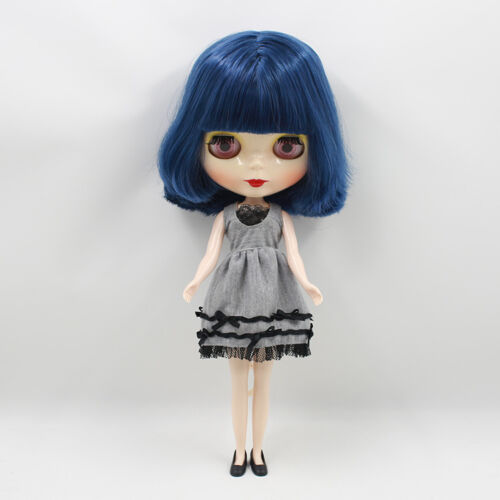 """12/"""" Neo Blythe Doll Dark  Blue Hair Factory Nude Doll from Factory JSW77003"""