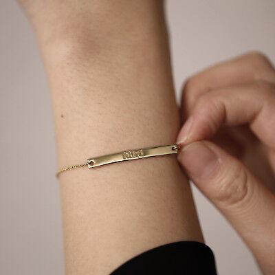 Dainty Gold Bar Bracelet Nameplate Bracelet Name Bar Bracelet Minimalist Bracelet,Simple 14kt Gold Filled Personalized Gold Bar Bracelet