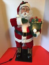 "Holiday Creations Santa Claus Animated Figure w/Candle & Gifts 25"" Tall 1998"