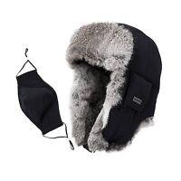 Siggi Mens Rabbit Fur Russian Trapper Hat Black O/s
