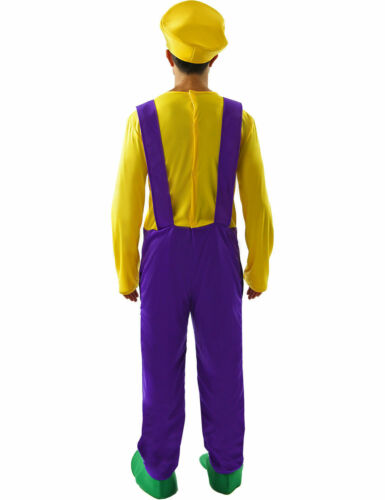 Mens Bad Plumber Wario 80s Stag Night Fancy Dress Costume
