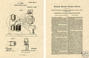 US PATENT of THOMAS EDISON TICKER TAPE - 1869 Art Print READY TO FRAME!!!!!!