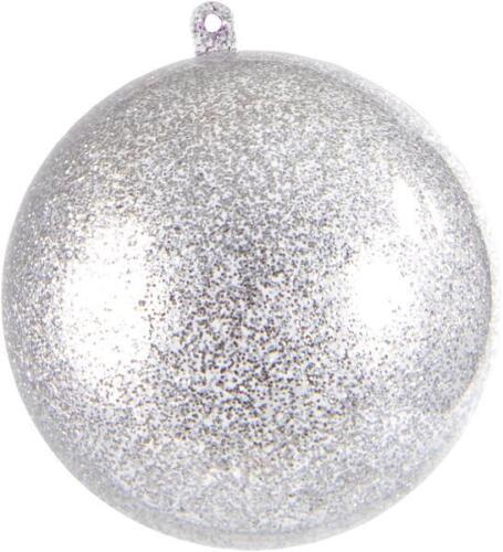Dekokugel Kunststoff basteln SALE Acrylkugeln Glitter teilbar silber 5 cm 6 Stk
