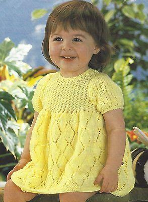 "Baby Lacy Dress Knitting Pattern 18-20"" DK  354"