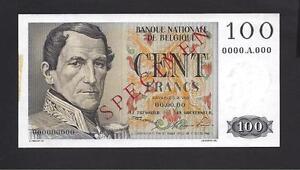 Belgium p-129 , UNC, 100 Francs , SPECIMEN !!