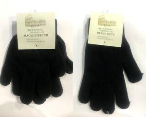 Mens-Womens-Knitted-Gloves-Winter-Warm-Gloves-Strechable-Basic-Plain-Black