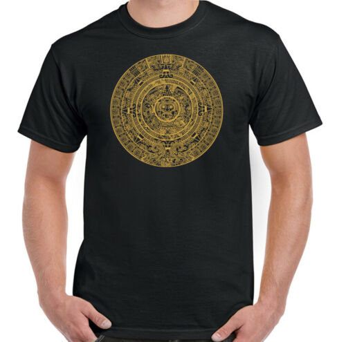 Maya Aztec Calendar Mens T-Shirt Inca South America Mexico Great Cycle Gold Top