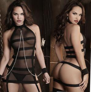Sexy-Lingerie-Sleepwear-Lace-Women-G-String-Dress-Underwear-Babydoll-Nightwear