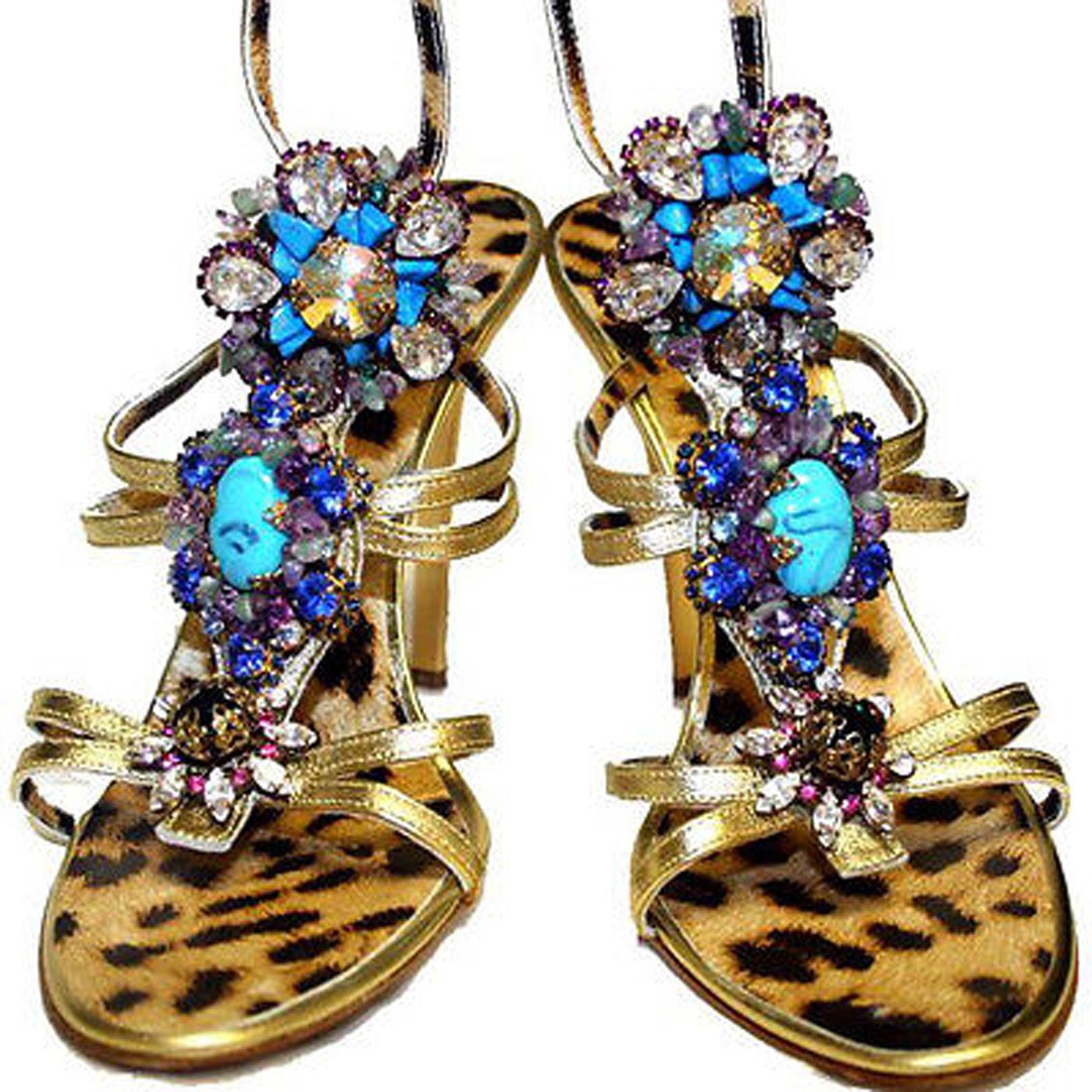 Roberto Cavalli Gold tote Leather Swarovski Crystal Turquoise Embellished schuhe