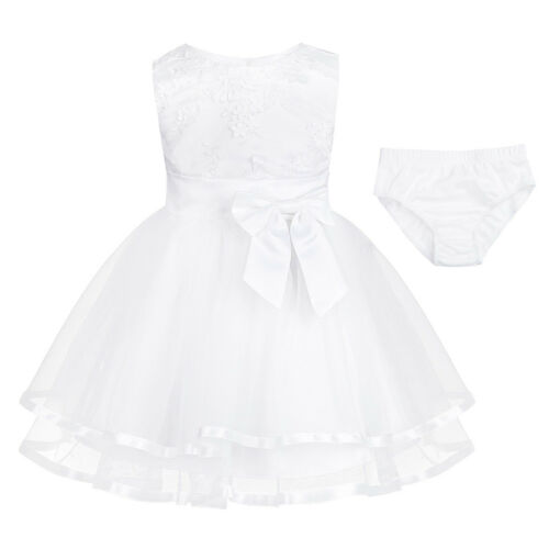 Infant Baby Girls Flower Tutu Dress Princess Pageant Wedding Christening Party