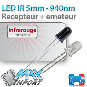 Lot-Emetteur-Recepteur-Infrarouge-940nm-LED-5mm-Compatible-Arduino