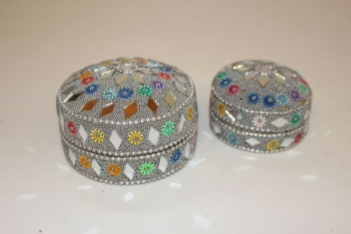 Indian Jewellery Box Set Of 2 and 3 Mirror Work Handmade Trinkets Earrings Rings