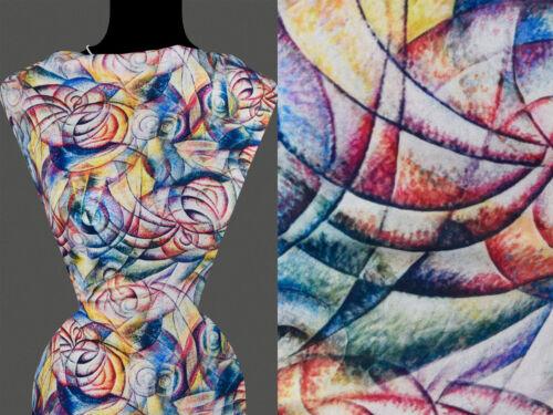 50cm Stoff VISKOSE Abstrakt Muster Muschel Wellen mehrfarbig 22,80 €//m