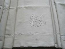 VINTAGE Francese Lino Metis foglio, bellissima, grande tessuto, tende, copertura del letto