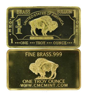 1 oz One Troy Ounce USA American Buffalo .999 Fine Brass Bullion Bar