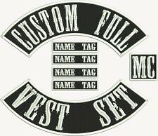 "7"" MC Biker Custom Embroidered Full Vest Set Patches"