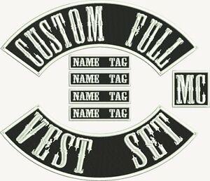 "17"" MC Biker Custom Embroidered Full Set Patches"