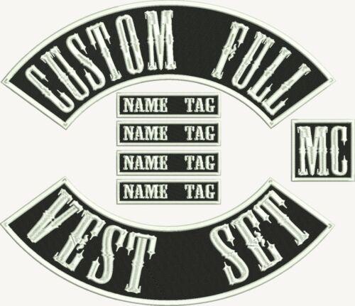 "12/"" MC Biker Custom Embroidered Full Vest Set Patches"