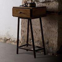 Vintage Industrial Side End Table Furniture Bedside Cabinet 1 Drawer Storage