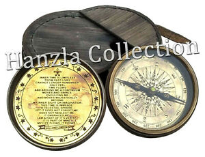 "Vintage Dollond London Poem Engraved Brass Compass 3/"" With Leather Pocket Case"