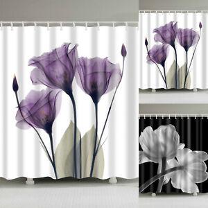 Flower-Pattern-Bathroom-Shower-Curtain-with-Hooks-Waterproof-Fabric-Bath-Decor