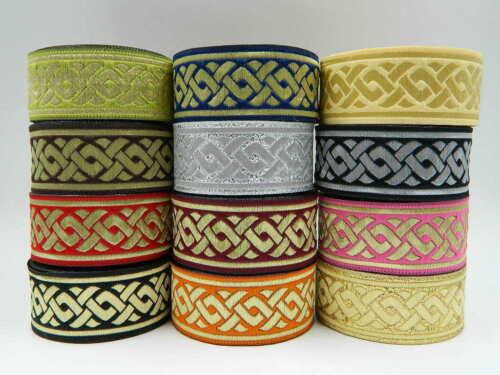1m Jacquard Ribbon//Trim Celtic Knot 33mm width Various colours available