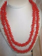SIMULATED BRANCH CORAL NECKLACE LUCITE PLASTIC SPIKEY ORANGE AUTUMN VINTAGE LONG