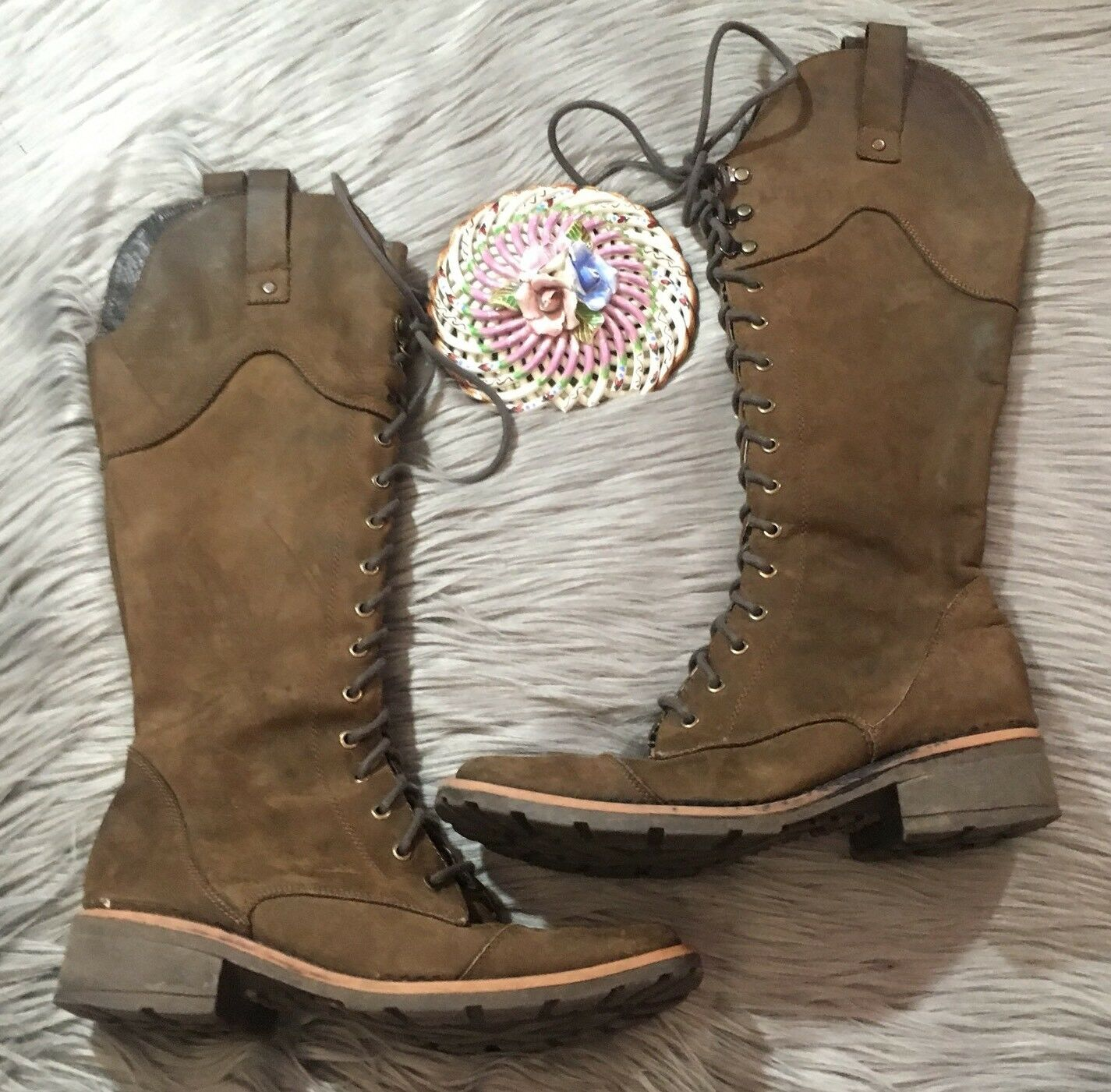 Chabi Knee High Distressed Leather Boots Sz 8 Brown Lace Up Riding Boho