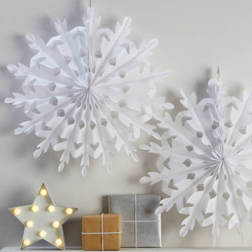 3 x 30cm Hanging Paper Snowflake Decoration Tissue Christmas Party Xmas Fans