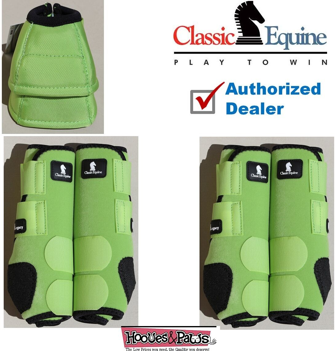 LARGE Lime Green CLASSIC EQUINE Front Rear Legacy  Horse Leg No Turn Bell Boots  cheap sale