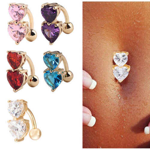 1pc Reverse Crystal Bar Belly Ring Gold Body Piercing Button Navel Two Heart XJ