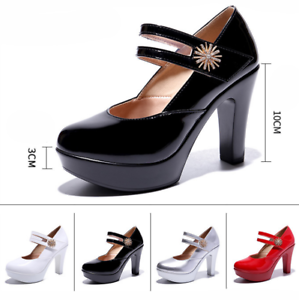 Women's Solid Color Round Toe Buckle High Heels Pumps