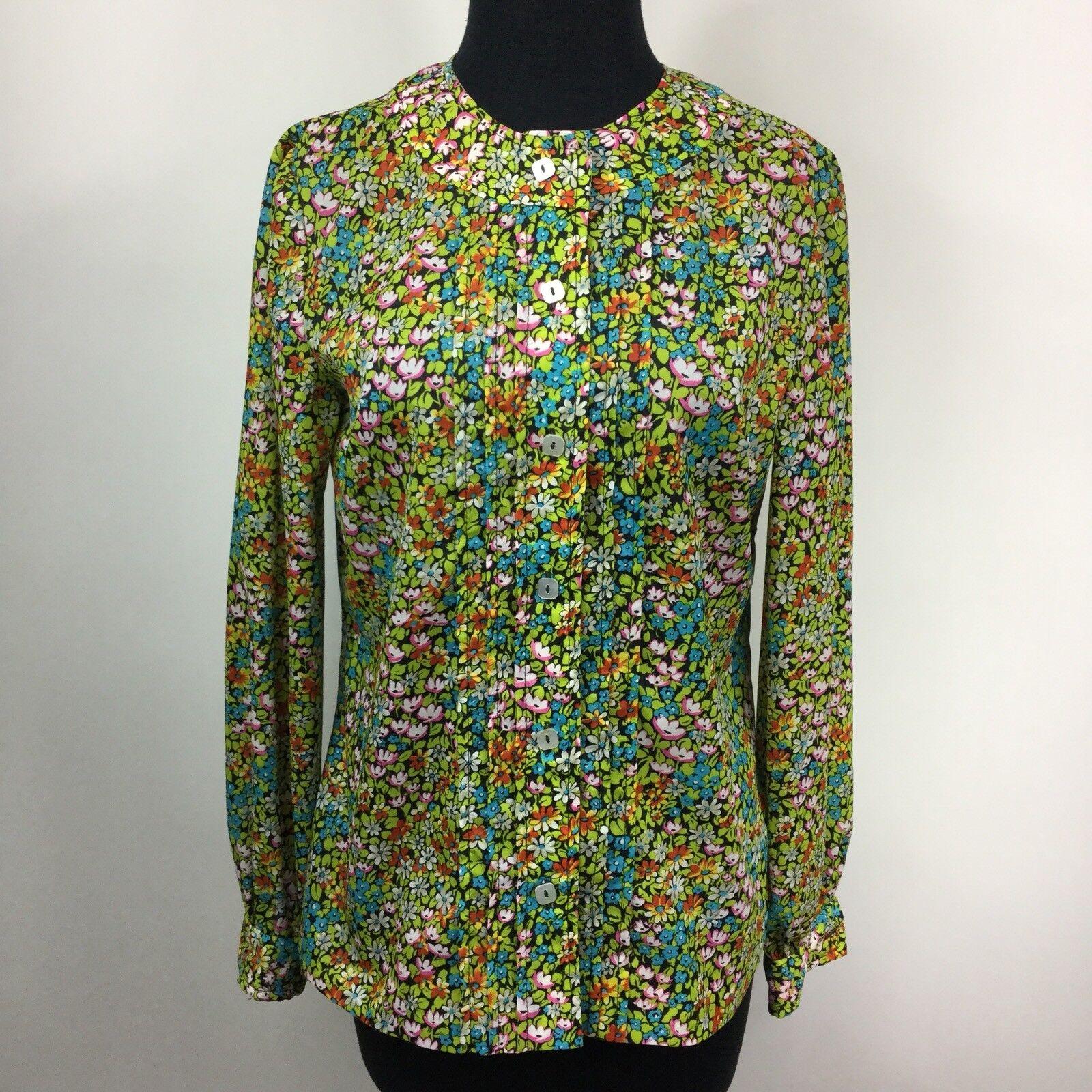 damen Vintage Anjac Neiman Marcus 60s 70s Floral Long Sleeve Blouse Größe Large