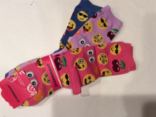 3 PAIRS LADIES//TEEN EMOJI SOCKS* BLUE//LILAC//PINK CUTE /& FUN NEW IN PACKAGE