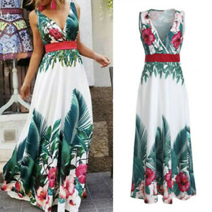 Women-Ladies-Boho-Floral-Sleeveless-V-Neck-Long-Maxi-Dress-Summer-Beach-Sundress