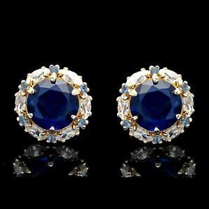 2-00CT-Blue-Sapphire-Halo-Marquise-Created-Diamond-Stud-Earrings-14k-Yellow-Gold