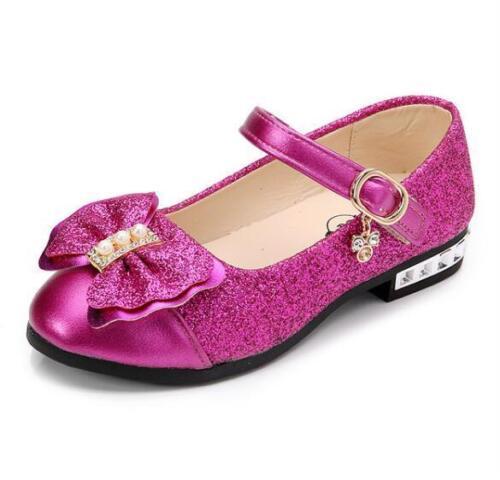 Kids Girls Shoes Party Wedding Toddler Children Canvas Glitter Princess Sandals