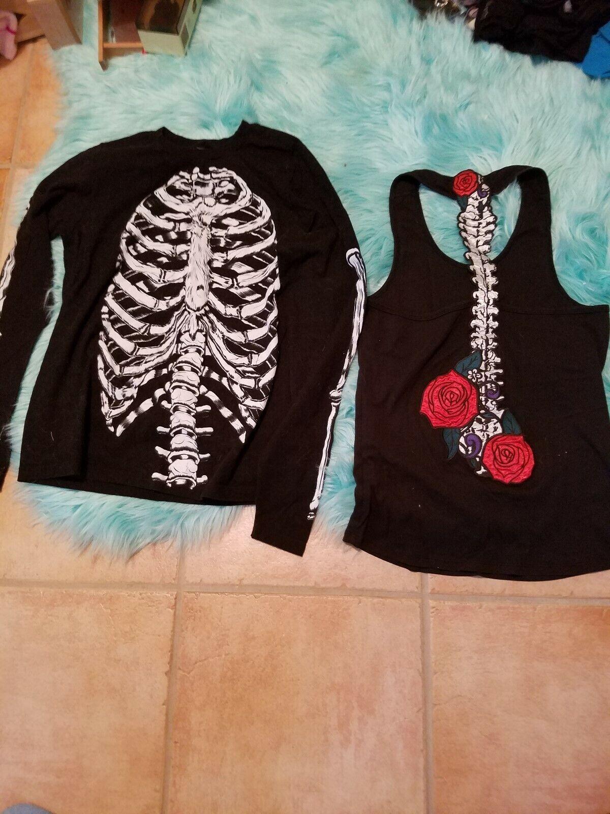 lot of 2 skeleton theme clothing. Sz m t back tank and long sleeve shirt sz S
