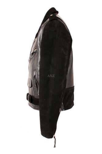 da di nera in Brando vera pelle motociclista pelle da in vacchetta bovina uomo scamosciata realizzata Giacca g6dqwRad