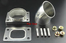 """T25 T28 Turbo Inlet To 2.5"""" 45º Elbow  Stainless Steel Adp Flange+ Gasket + Stud"""