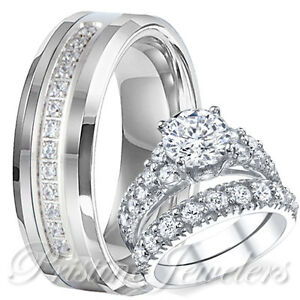 His Tungsten Band Hers 925 Sterling Silver Engagement Wedding Men