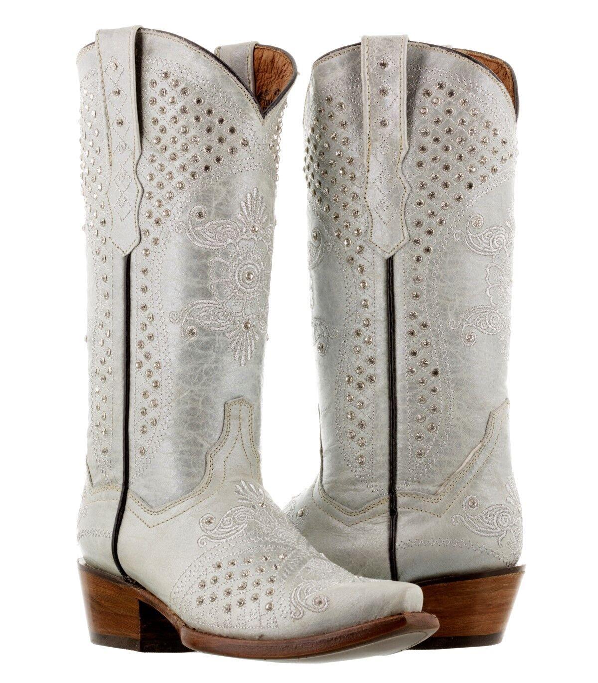l'ultimo donna donna donna Pearl bianca Wedding Western Cowgirl stivali Rhinestone Distressed Snip Toe  fino al 50% di sconto